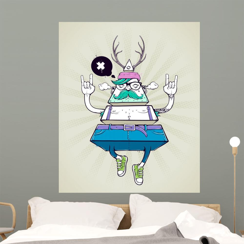 Triangle Hipster Bizarre Character Teenage Wall Mural
