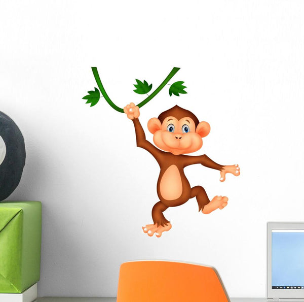 Cute Monkey Cartoon Hanging Nursery Wall Sticker DWS1203
