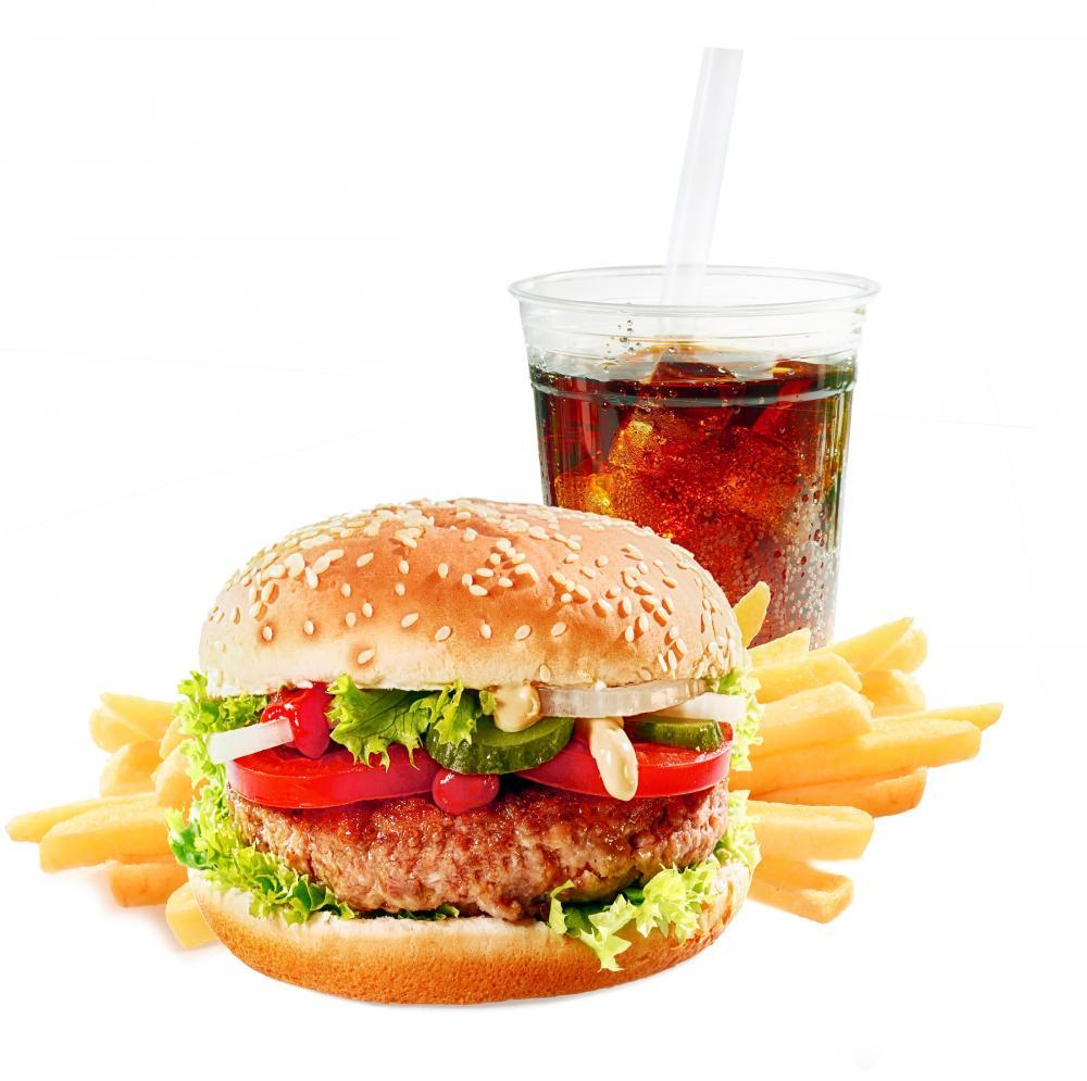 Hamburger with Iced Soda Food & Drink Wall Mural