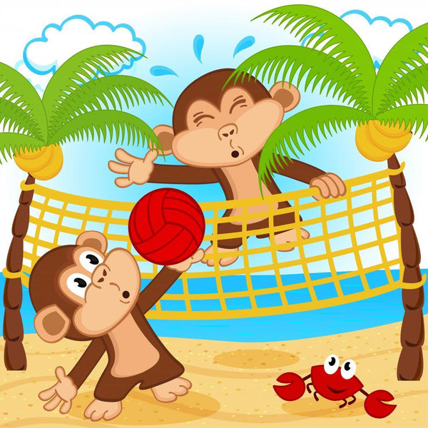 Monkeys Playing Beach Volleyball Sports Wall Mural