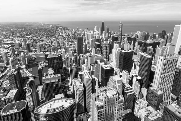 Chicago Skyline Aerial City Skyline Wall Mural - City-Skyline-Wall-Murals - Decall.ca