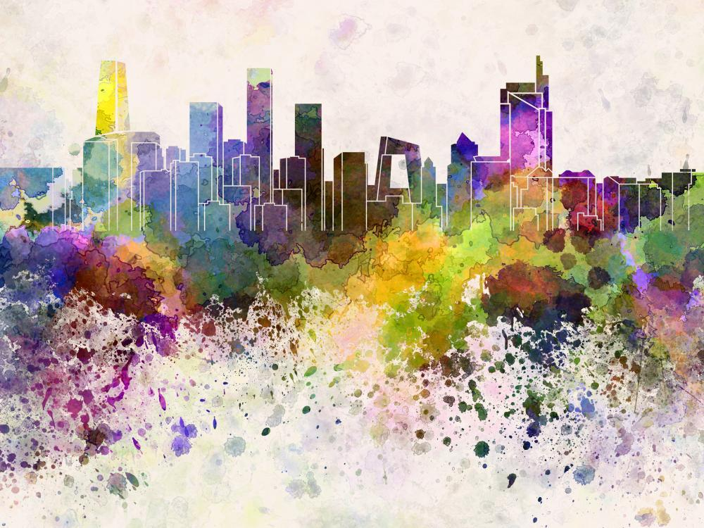 Beijing Skyline Watercolor City Skyline Wall Mural - City-Skyline-Wall-Murals - Decall.ca