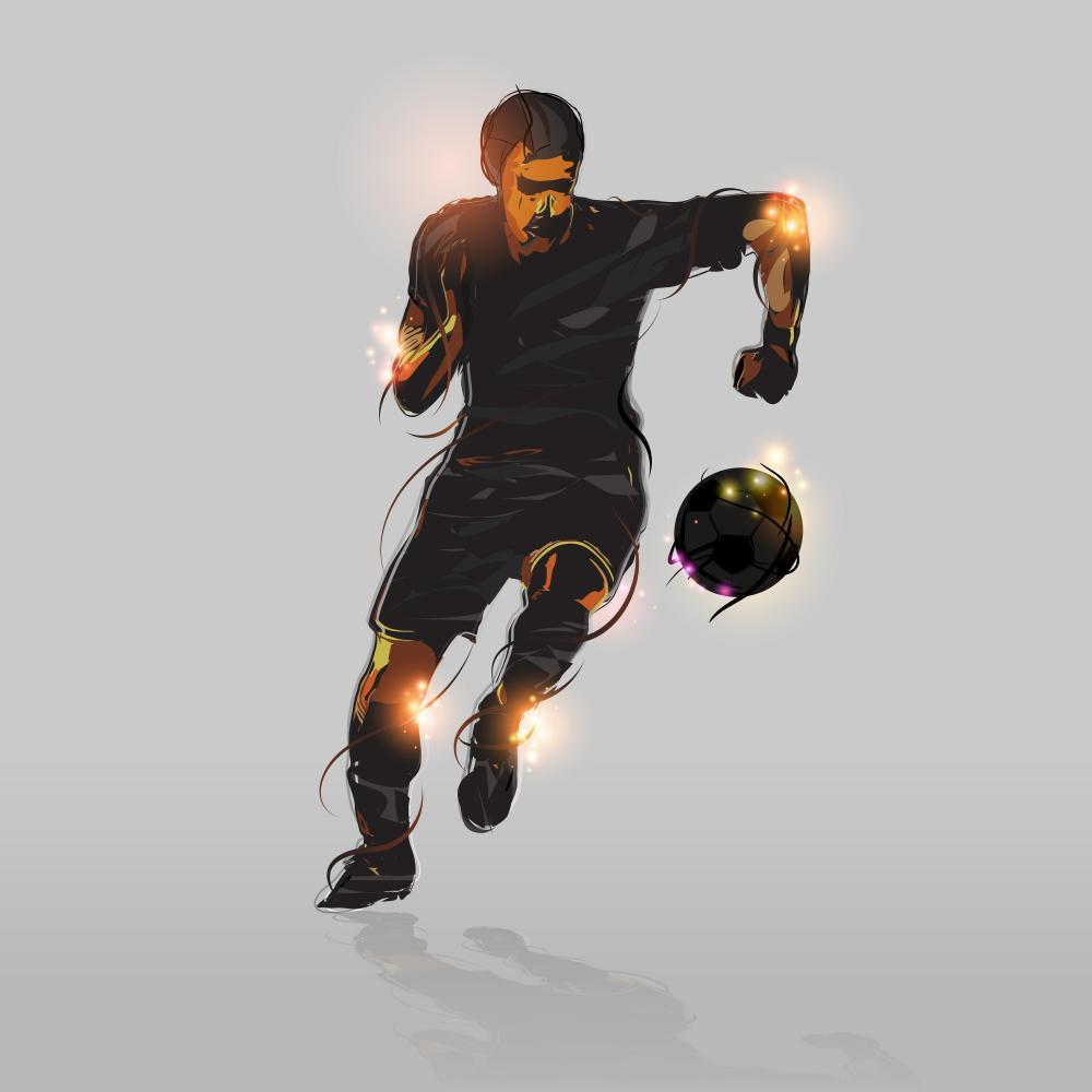 Abstract Soccer Striker Sports Wall Mural