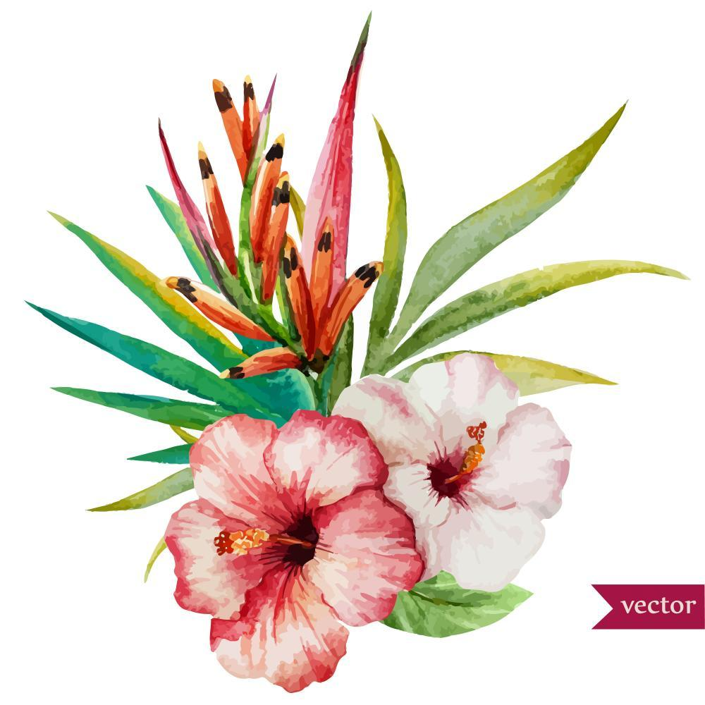 Beautiful Tropical Hawaiian Flowers Flower Wall Mural Sticker - Flower-Wall-Stickers - Decall.ca