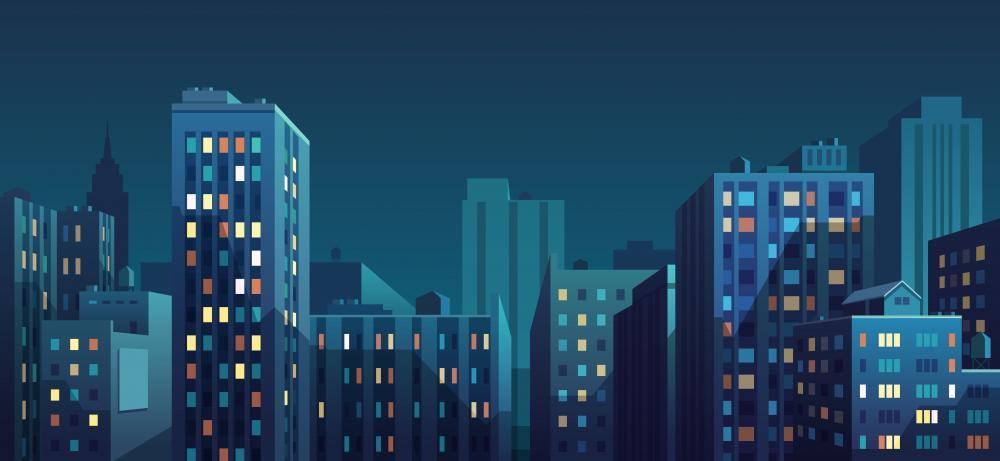 Night Cityscape Vector Illustration City Skyline Wall Mural