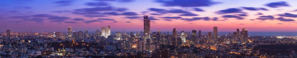 Tel Aviv Cityscape Sunset City Skyline Wall Mural