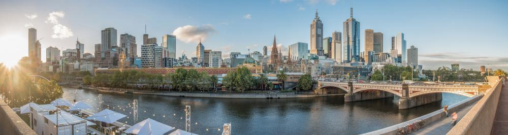 Melbourne Cityscape with Panorama City Skyline Wall Mural
