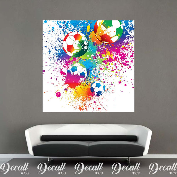 Abstract Colorful Splashing Soccer Ball Sports Wall Mural