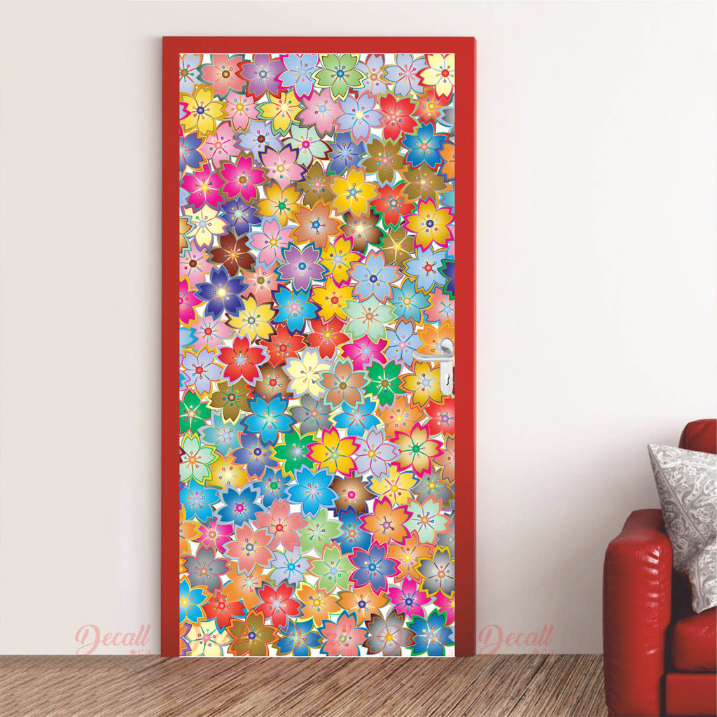 Abstract Flowers Door Mural - Door-Murals - Decall.ca