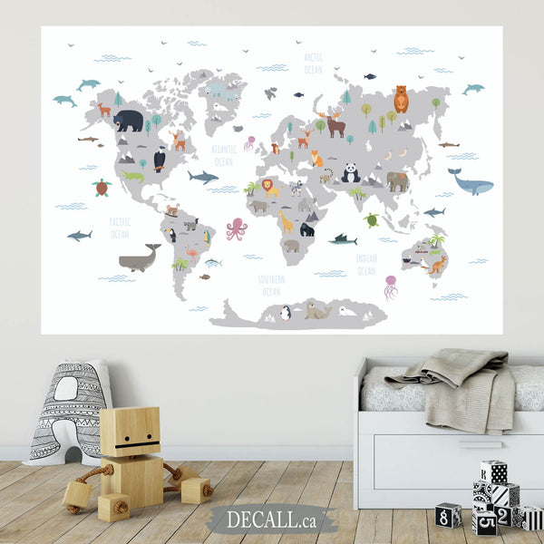Animal World Map Wall Mural - Kids Country World Map - Peel and Stick Wall Sticker