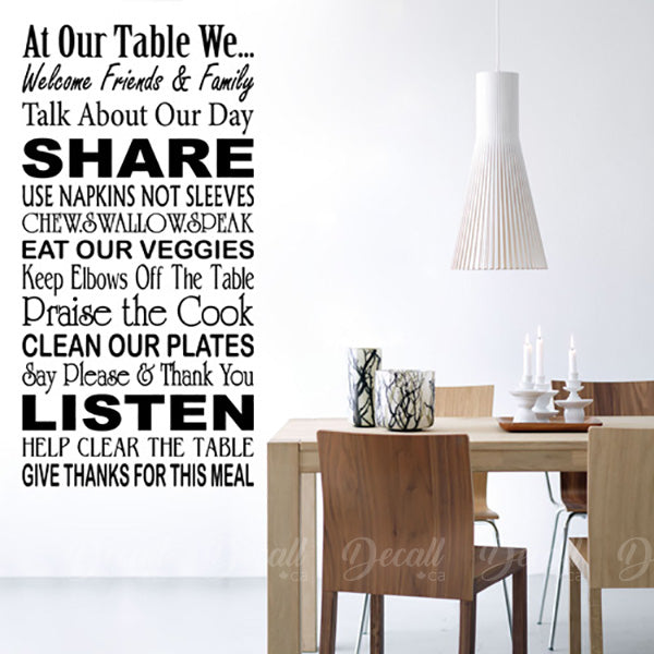 At Our Table - Wall Quotes Decals - Wall-Decals - Decall.ca