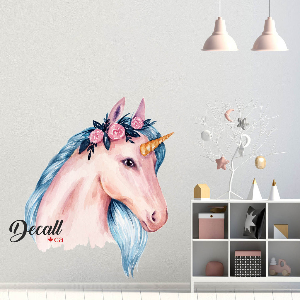 Beautiful Blue Mane Unicorn with Romantic Rose Wall Decor - Peel & Stick Wall Sticker - Wall-Stickers - Decall.ca
