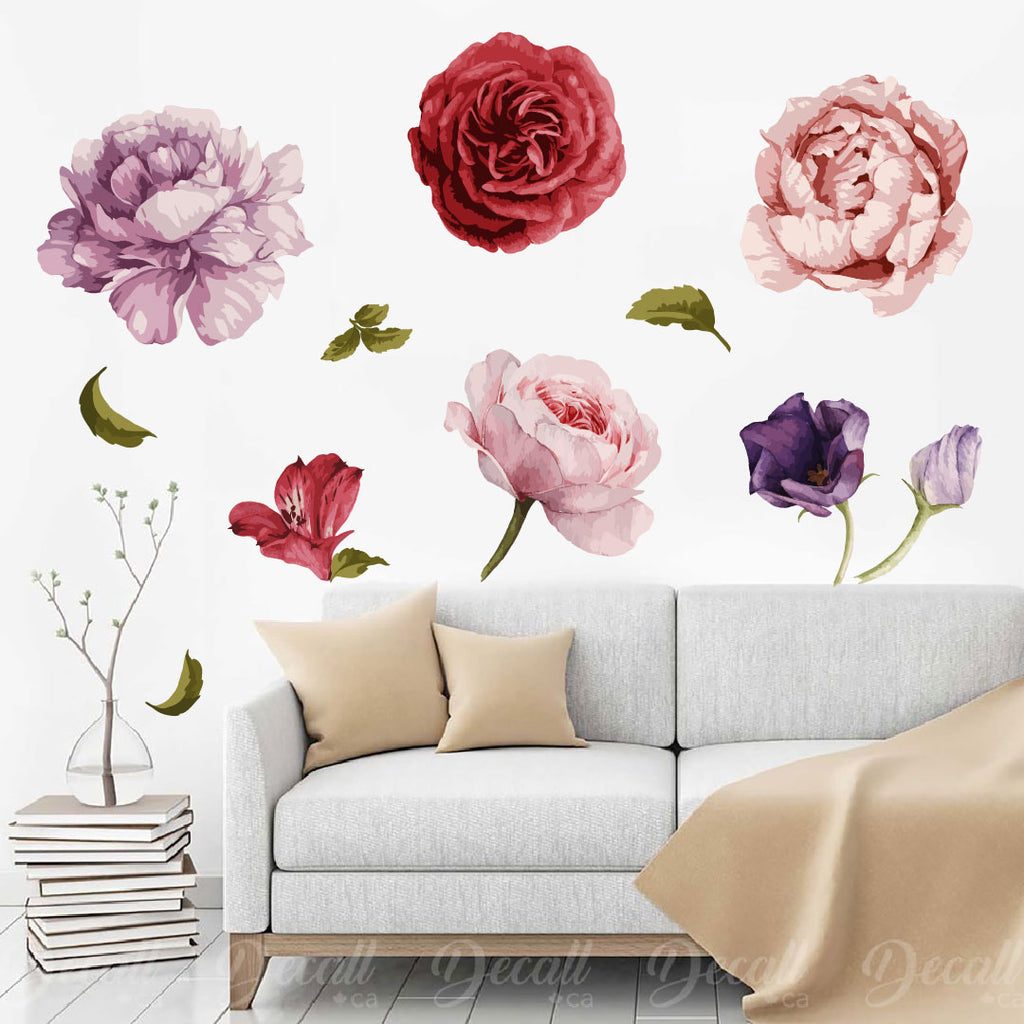 Beautiful Flowers - Peel and Stick Reusable Wall Decal - Flower Wall Stickers - DWS1039 - Wall-Stickers - Decall.ca