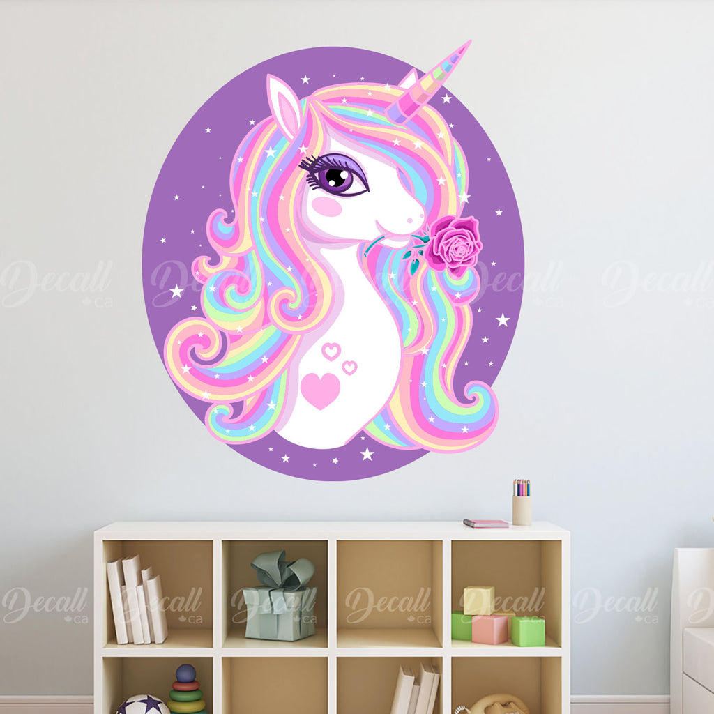Beautiful Rainbow Unicorn with Rose in Oval Frame Girl Wall Decal - Peel & Stick Wall Sticker - Wall-Stickers - Decall.ca