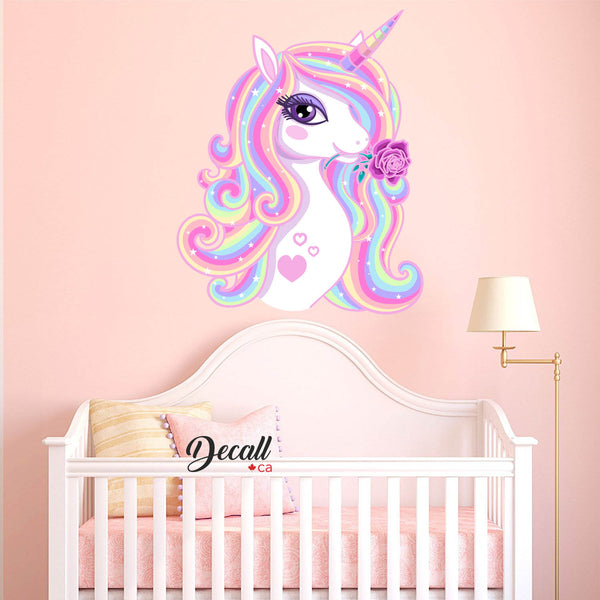 Beautiful Rainbow Unicorn with Stars Girl Wall Decal - Peel & Stick Wall Sticker