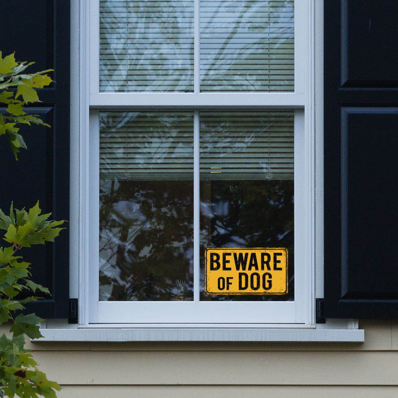Beware of Dog on Yellow Vintage Rusty Metal Background, Home Security Sticker, Alarm Sticker - DS1226