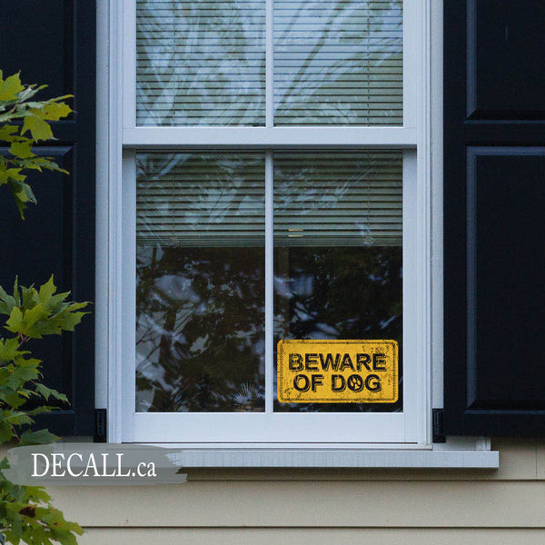 Beware of Dog on Yellow Vintage Rusty Metal Background, Home Security Sticker, Alarm Sticker - DS1228
