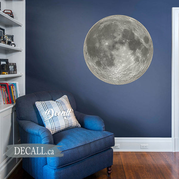 Black & White Full Moon Space Wall Sticker - DWS1183
