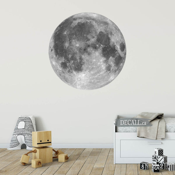 Black & White Full Moon Space Wall Sticker - DWS1157