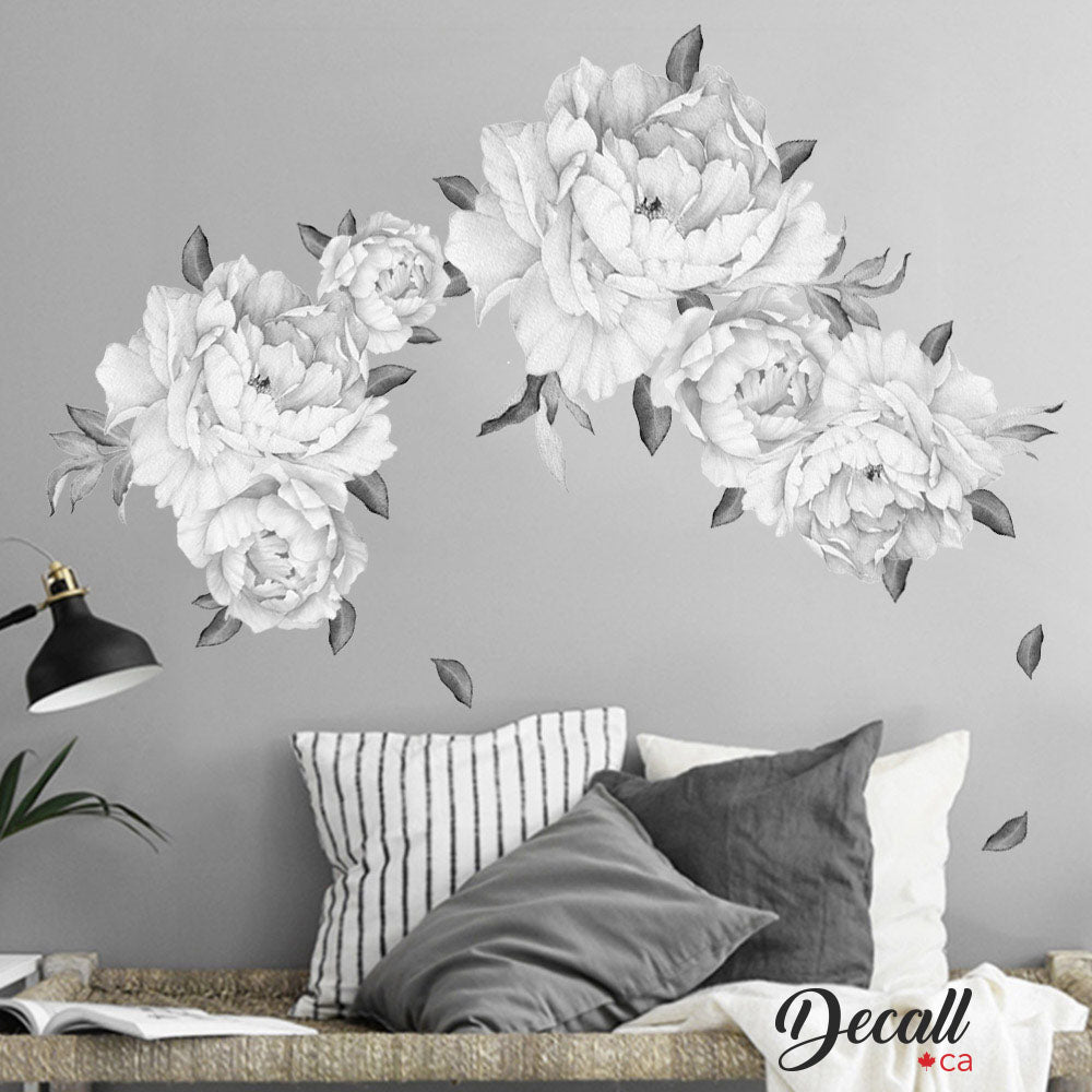 Black & White Peony Flowers Wall Sticker - Vintage Watercolor - Peel and Stick Reusable Wall Stickers - DWS1044 - Wall-Stickers - Decall.ca