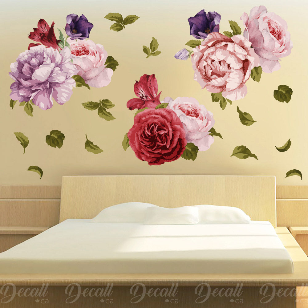 Peony bouquets peel and stick reusable wall decal flower wall stickers dws1038