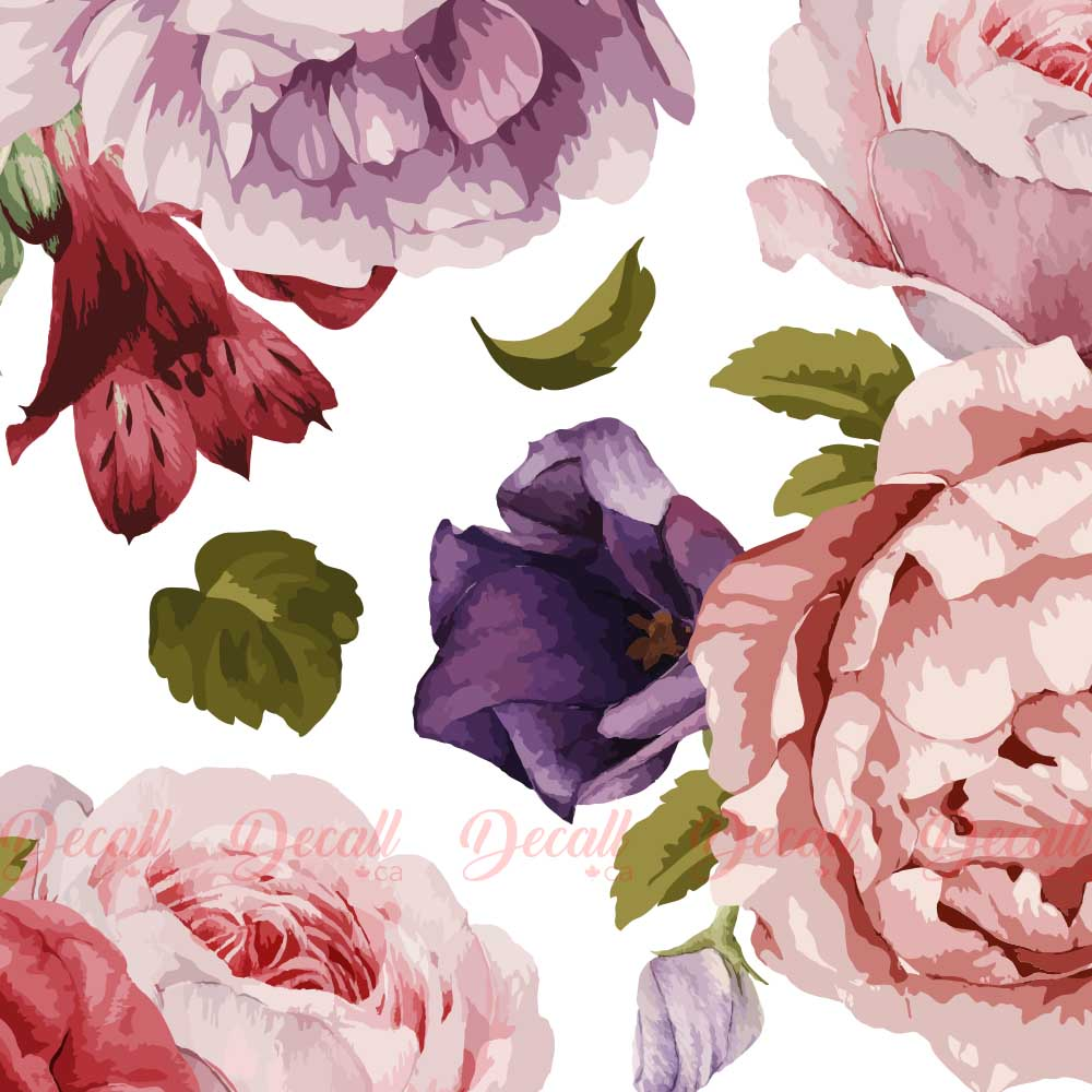 SAMPLE of Peony Bouquets Flower Wall Stickers - DWS1038 - Wall-Stickers - Decall.ca