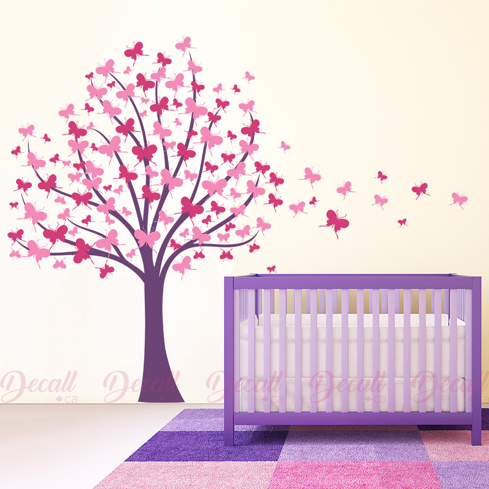 Butterfly Tree With Trailing Butterflies - Tree Wall Decal - Wall-Decals - Decall.ca