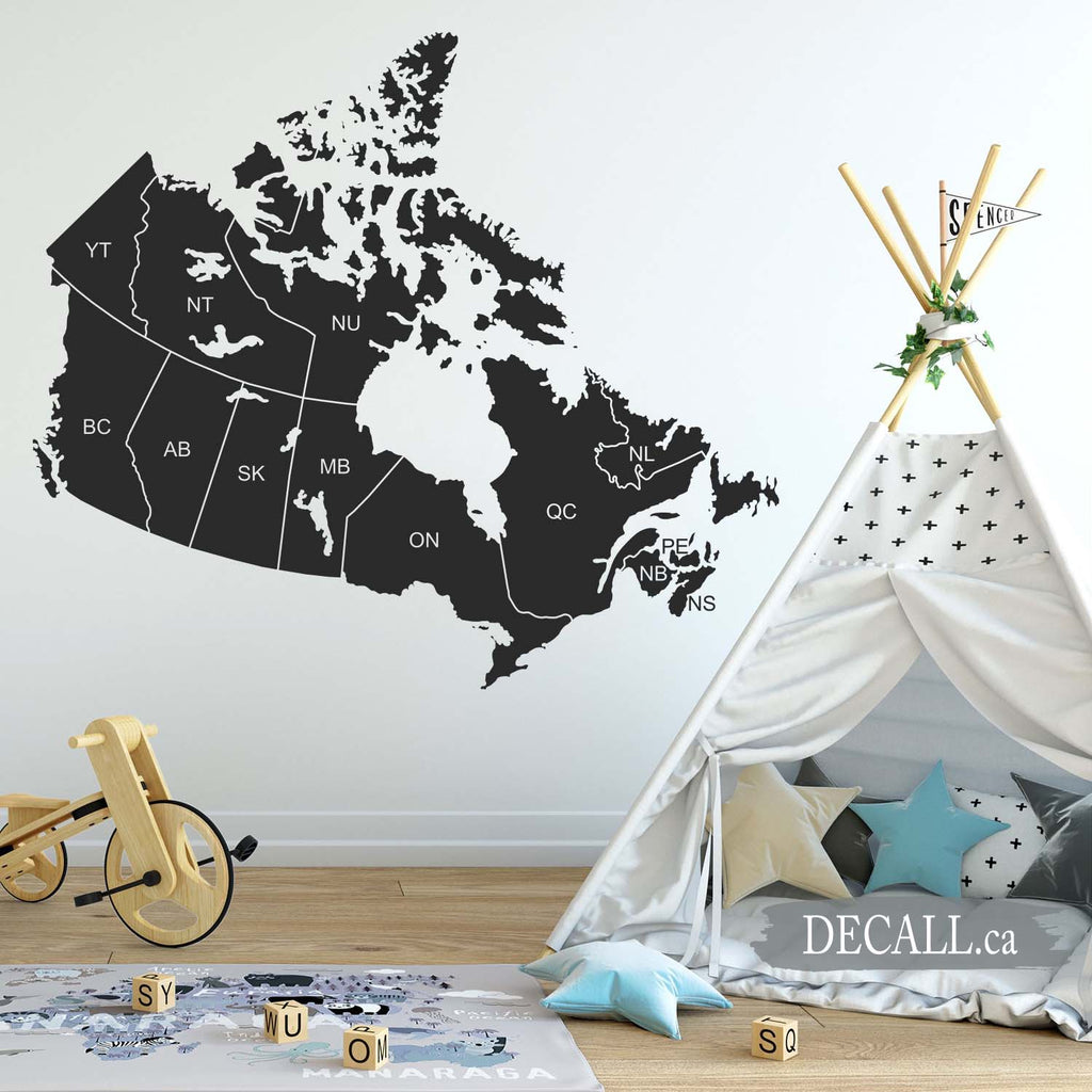 Canada Map with Names of Provinces - Map of Canada - Removable Wall Decal