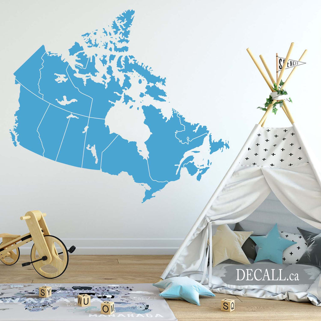 Canada Map with Provinces - Map of Canada - Removable Wall Decal