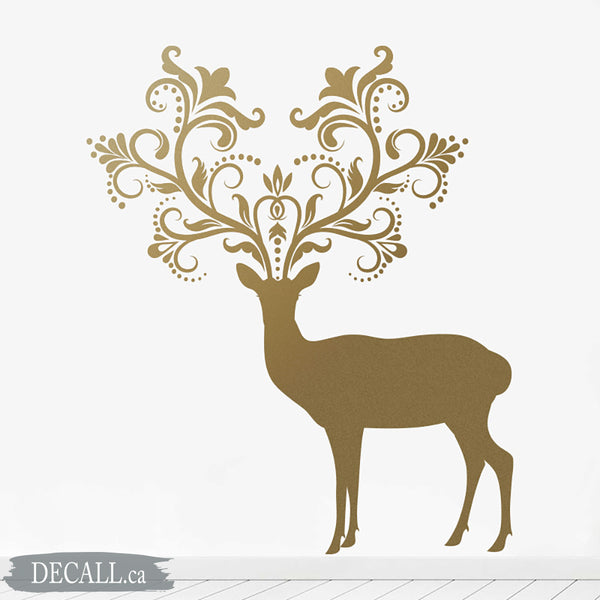 Caribou Deer with Patterned Horns - Animal Wall Decal S019
