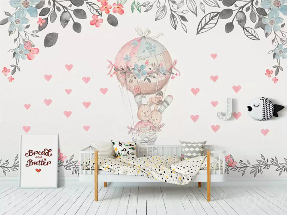 Cartoon Bunny Rabbits With Hot Air Balloon Wall Mural - Wall-Murals - Decall.ca