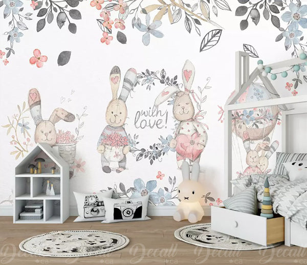 Cartoon Bunny Rabbits With Love Wall Mural - Wall-Murals - Decall.ca