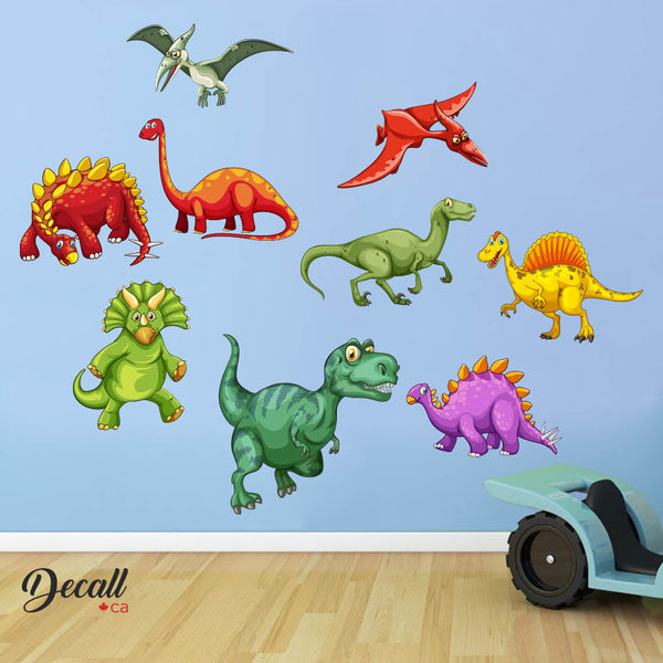 Cartoon Dinosaur Friends - 9 Dinosaurs - Boys Wall Sticker Set DWS1120