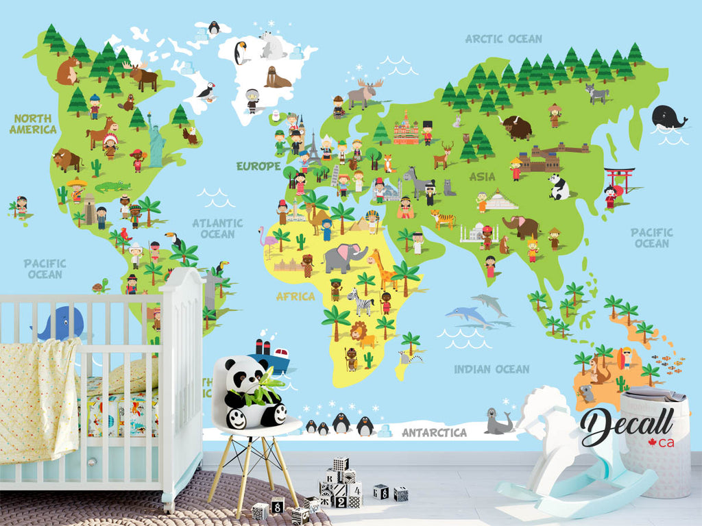 Cartoon World Map With Children Of Different Nationalities, Animals And Monuments - English - Reusable Kids Wall Sticker Decal Poster Wall Mural - Wall-Murals - Decall.ca