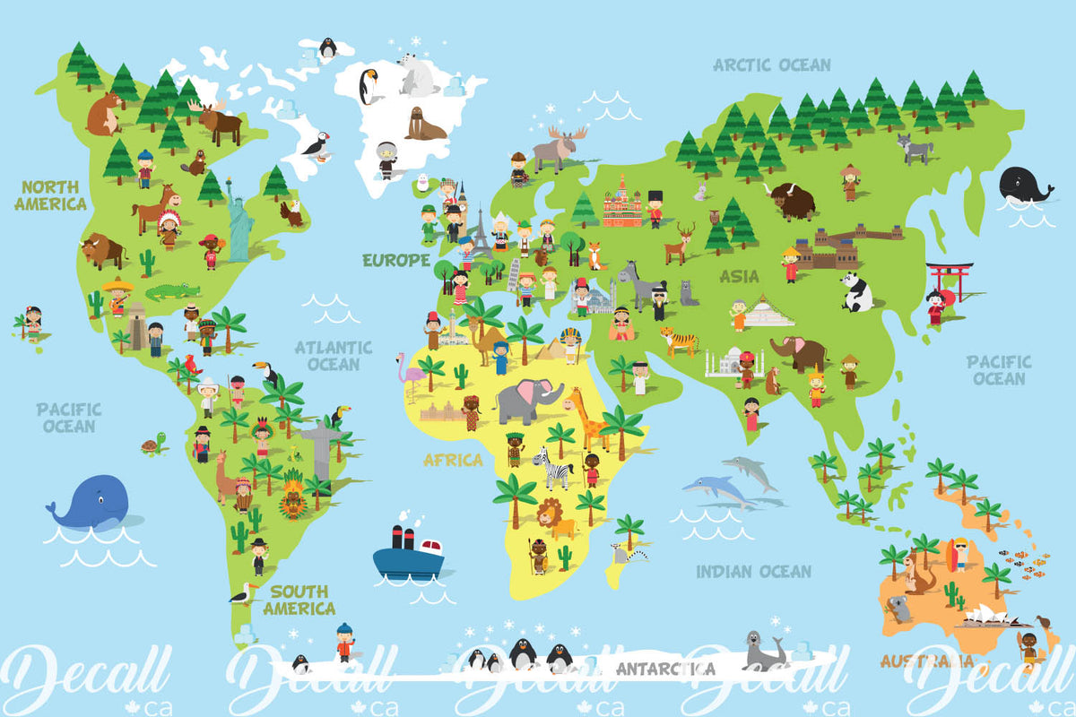 Cartoon World Map With Children Animals And Monuments