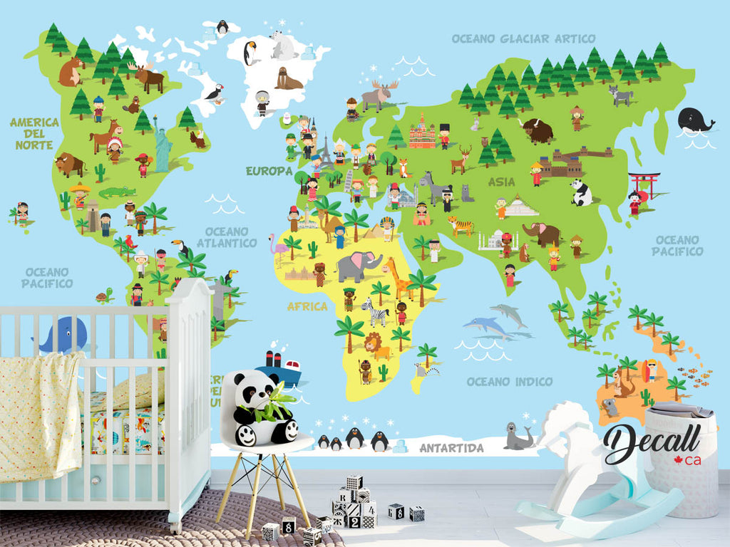 Cartoon World Map With Children Of Different Nationalities, Animals And Monuments - Spanish - Reusable Kids Wall Sticker Decal Poster Wall Mural - Wall-Murals - Decall.ca