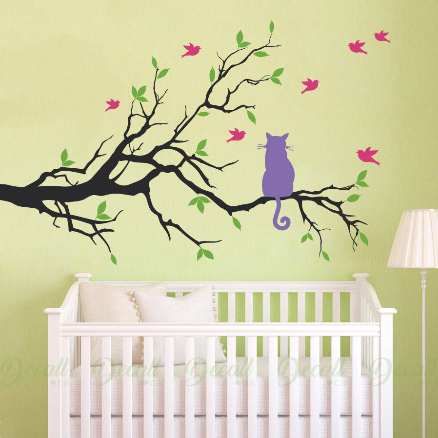 Cat On Branch With Birds - Nursery Wall Decor - Wall Decal - Wall-Decals - Decall.ca