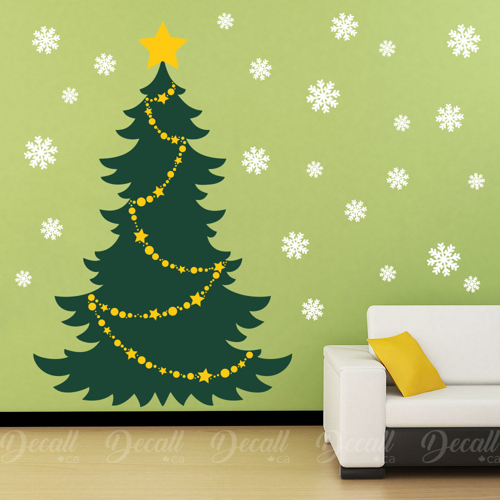 Christmas Tree with Snowflake - Vinyl Wall Decal - Wall-Decals - Decall.ca