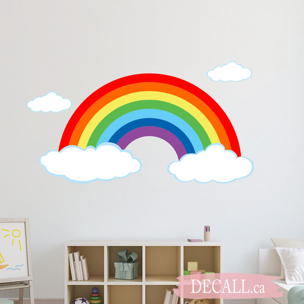 Colorful Rainbow with Clouds Wall Sticker DWS1215