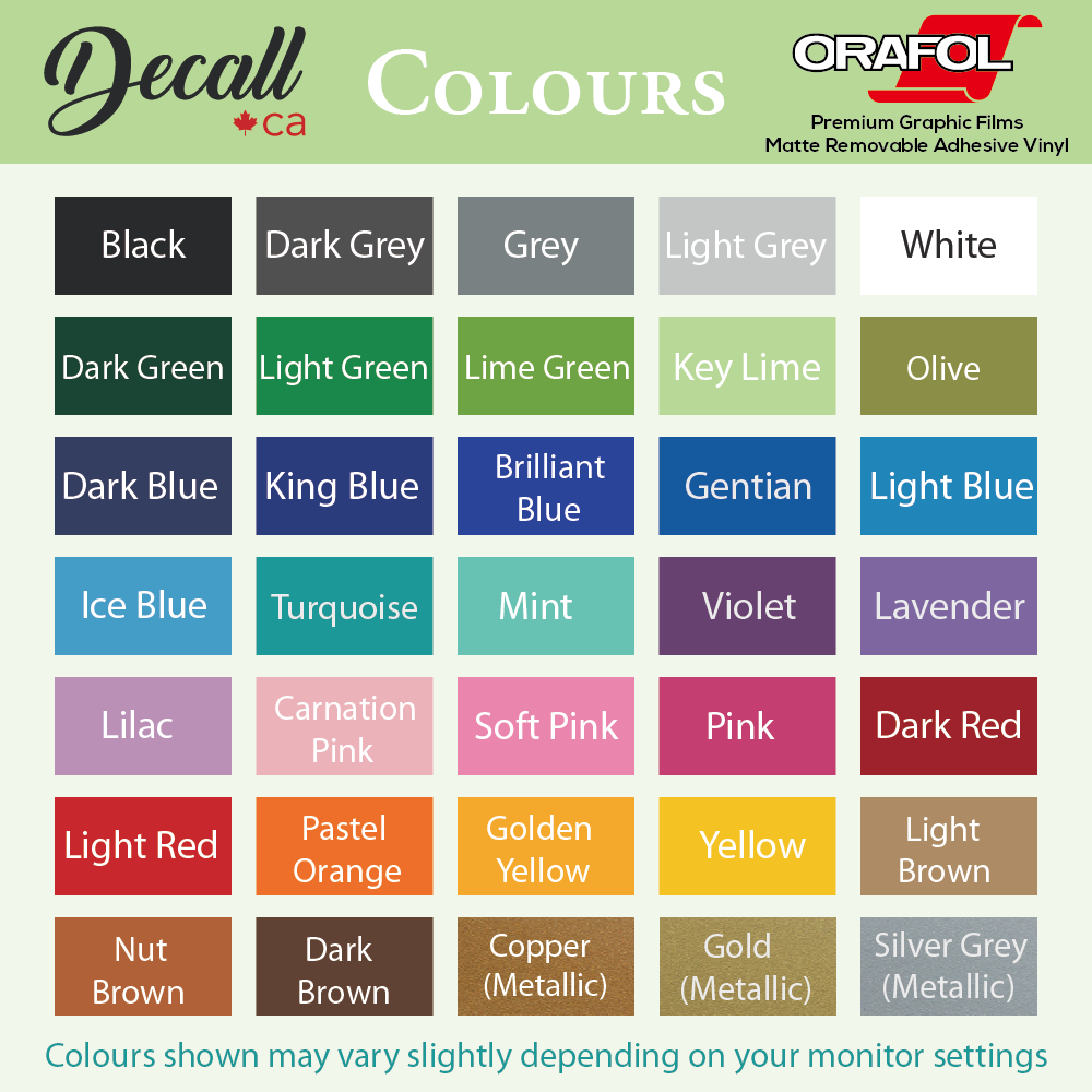 SAMPLE - Vinyl Wall Decal Colour Samples