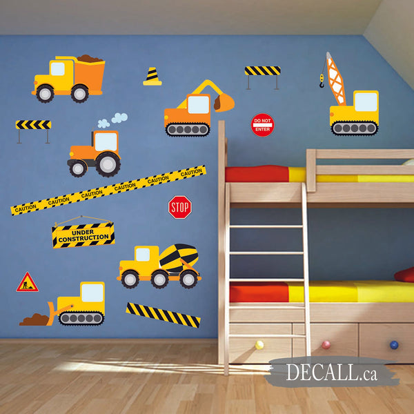 Construction Crew & Construction Vehicles Boys Wall Stickers DWS1111