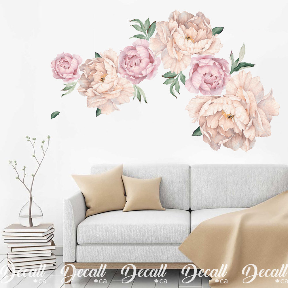 Coral Pink Peony Flowers Wall Sticker - Reusable Peel & Stick Wall Decal - DWS1055 - Wall-Stickers - Decall.ca
