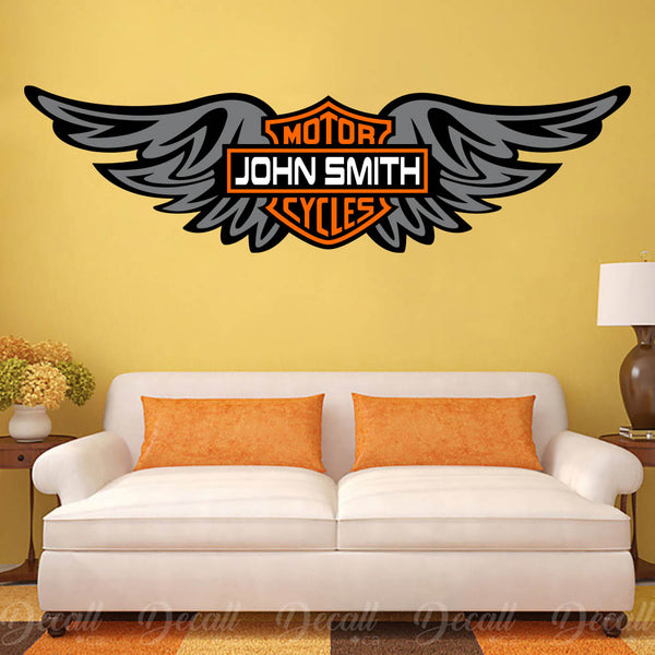 Motorcycles Harley Davidson Wings Logo Custom Name Wall Sticker DWS1032