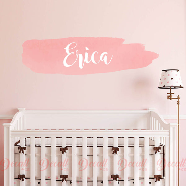 Customize Name Wall Sticker - Reusable Nursery Wall Decor - Soft Pink Name Sticker