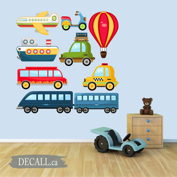 Cute Transportation Vehicles Wall Sticker Set DWS1185