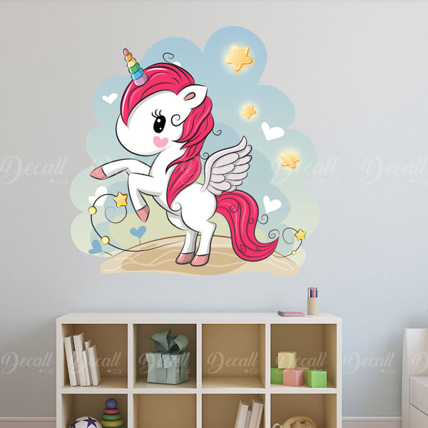 Cute Cartoon Rainbow Horn Unicorn with Stars and Hearts - Peel & Stick Wall Decal Sticker