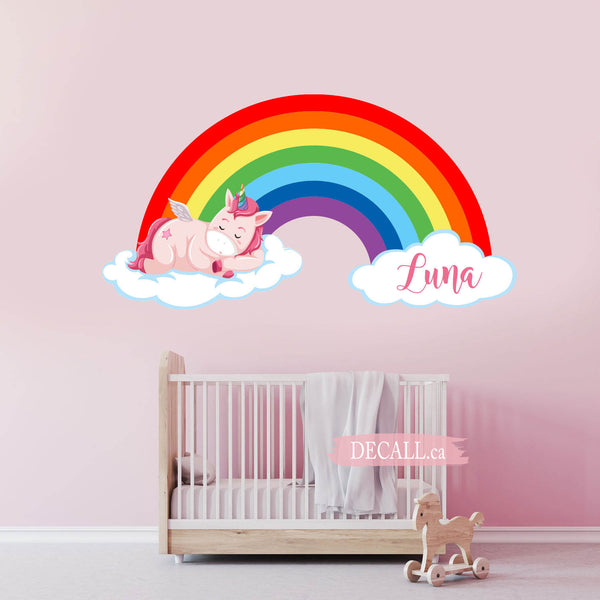 Cute Pink Unicorn Is Sleeping On The Cloud Rainbow Wall Sticker