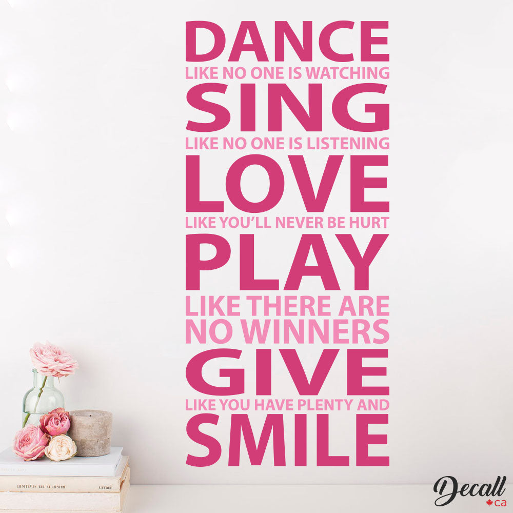 Dance Like No One is Watching - Wall Quote - Wall Decal - Wall Lettering - Wall-Decals - Decall.ca