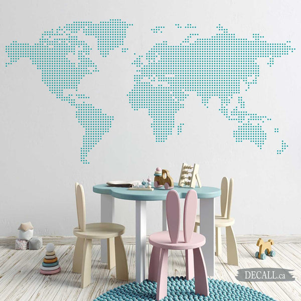 Dotted World Map with Rounds Spots Dots Wall Decal