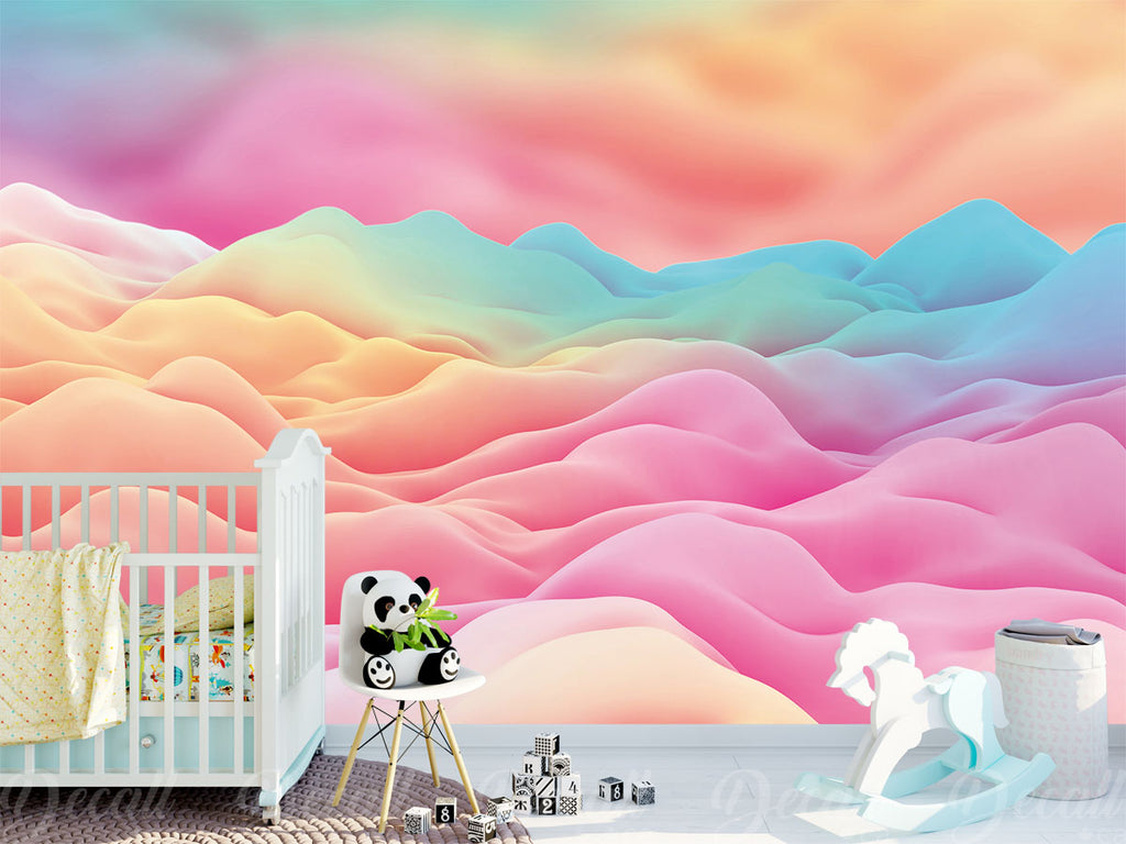 Dreamy Fairyland Ice Cream Cotton Candy Cloud Wall Mural - Wall-Murals - Decall.ca